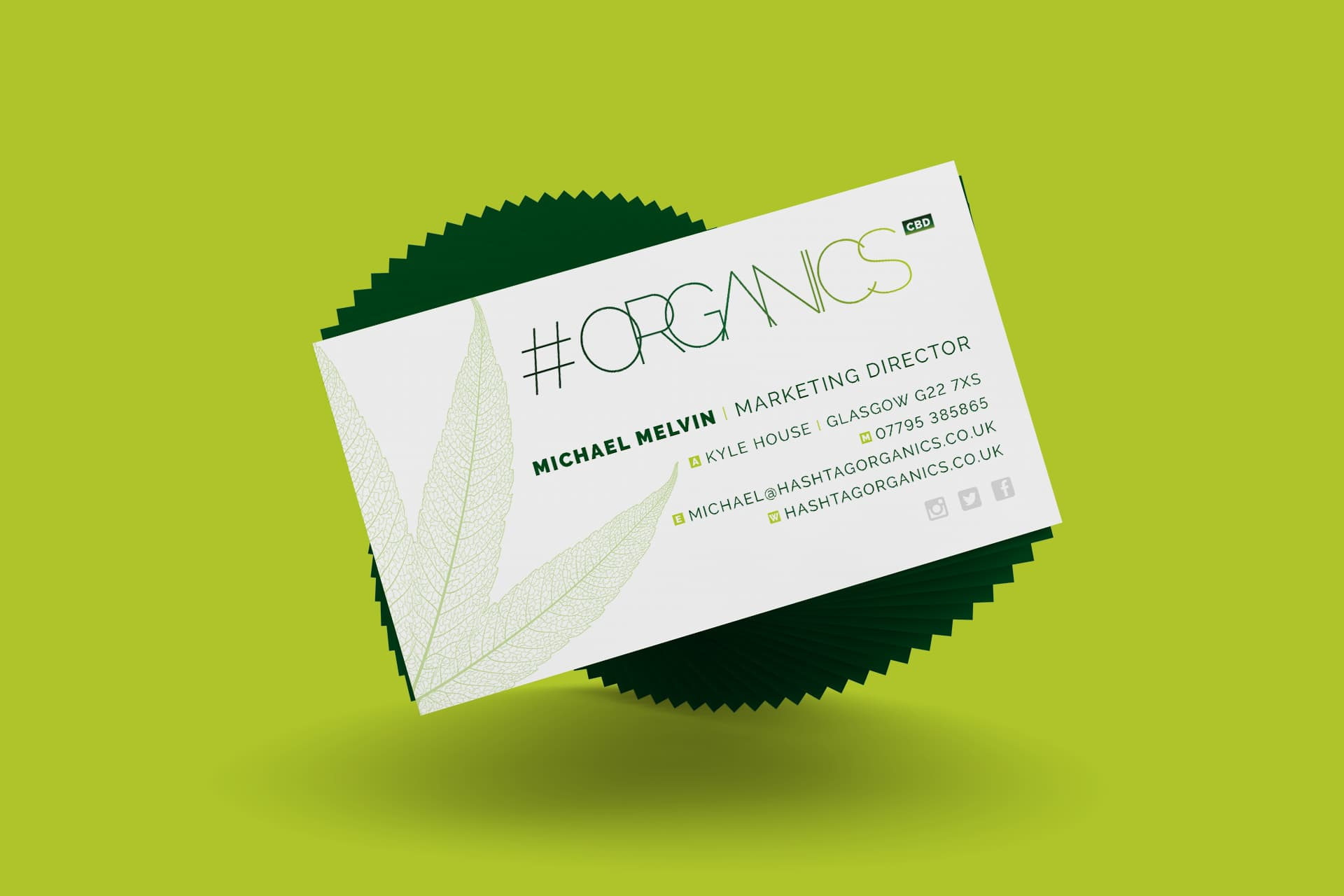 Hashtag Organics CBD Business Cards