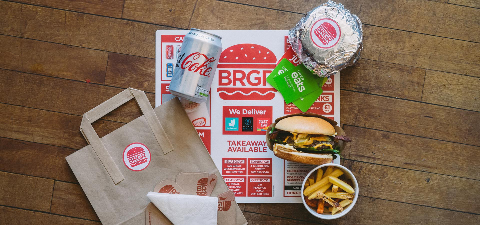BRGR Glasgow Branding photo showing Menu Design