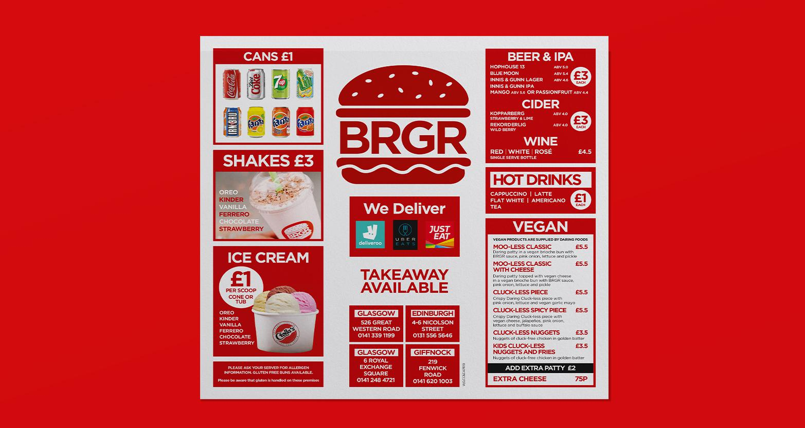 BRGR Logo Menu Design