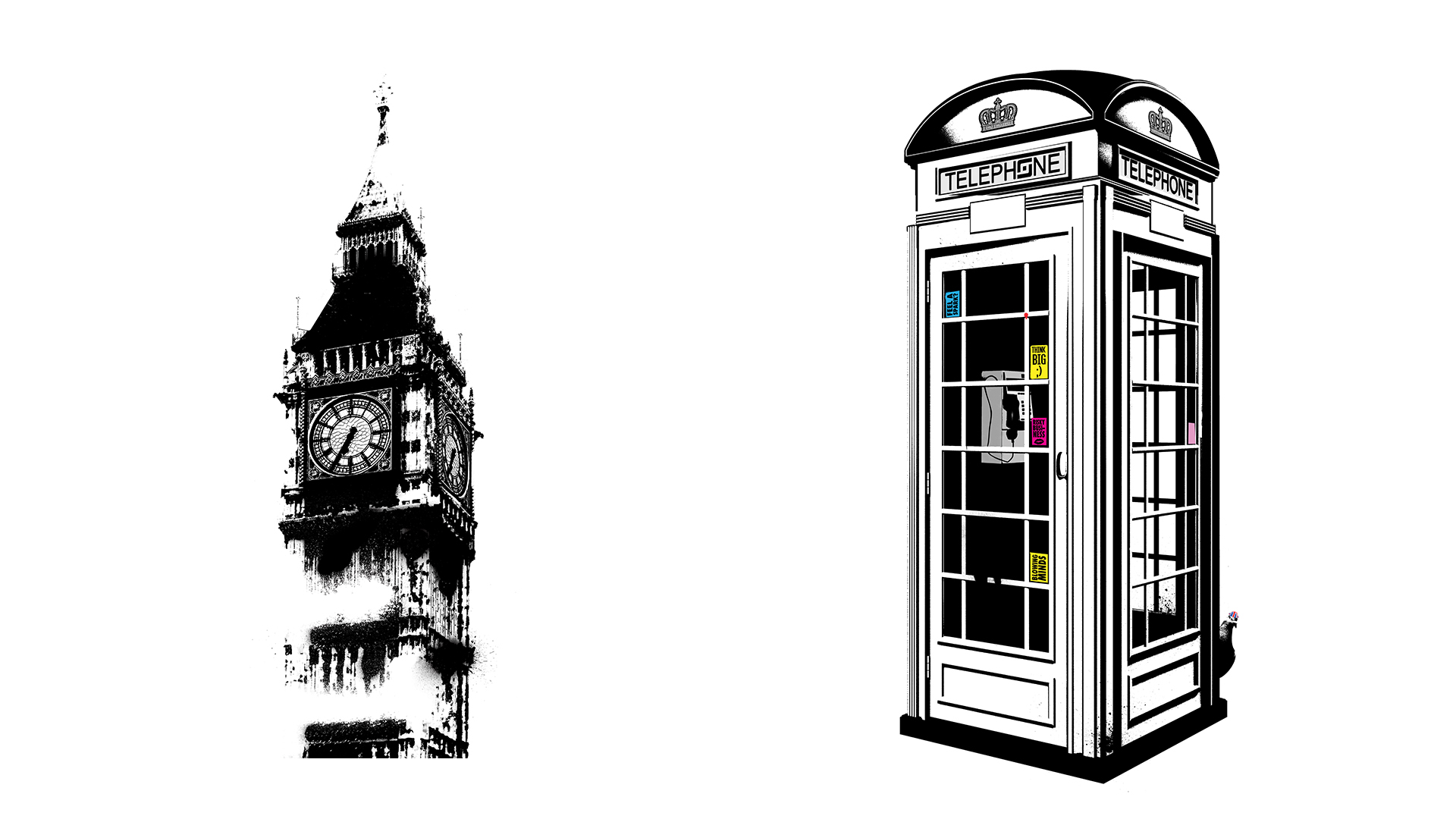 Big Ben Telephone Box Graffiti