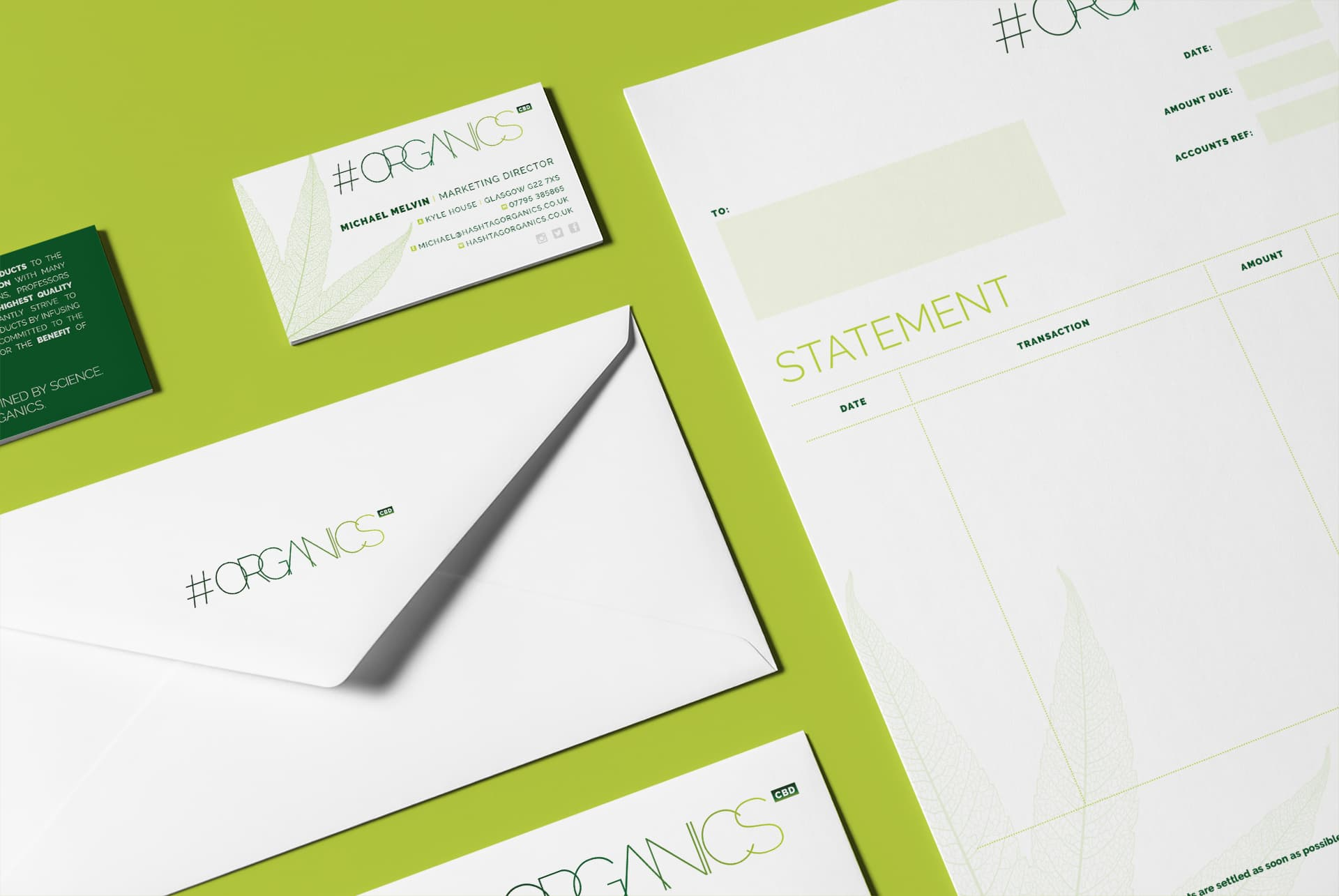 Hashtag Organics Business Stationery including Business Cards, Envelope, Letterhead and Invoice