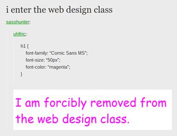 i enter the web design class